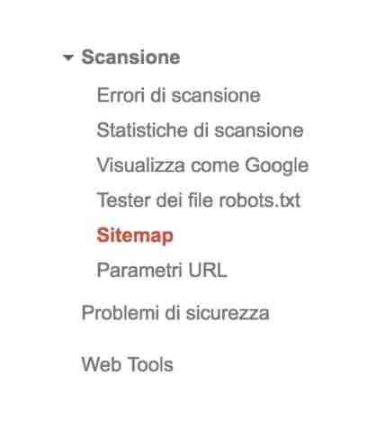 Menu Search Console